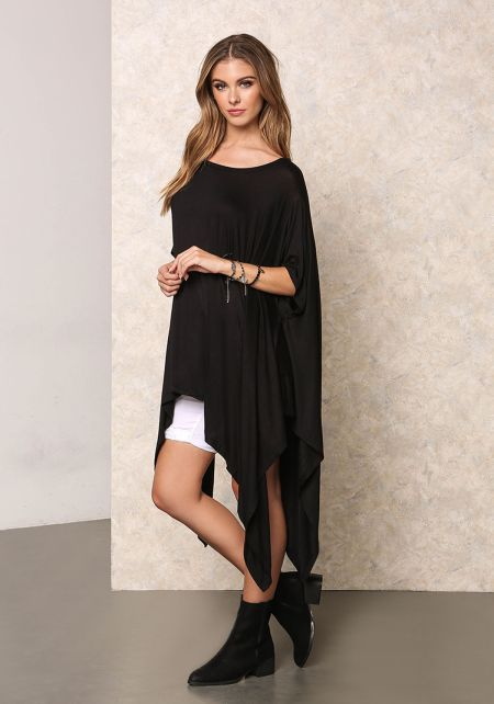 Black Lustrous Jersey Knit Pointed Top