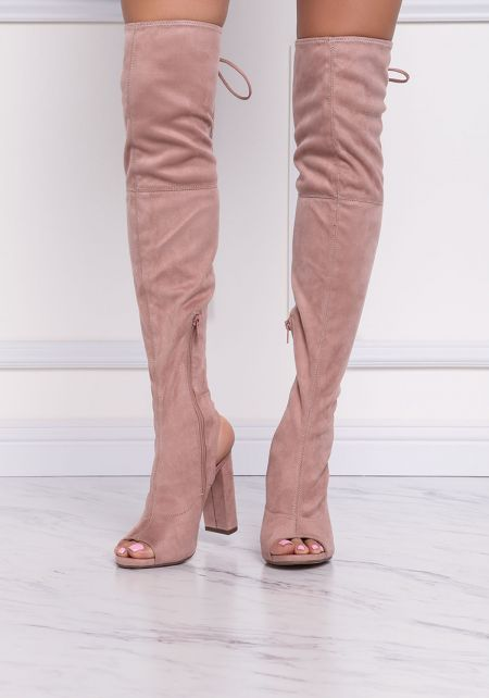 Mauve Suedette Open Toe Over The Knee Boots