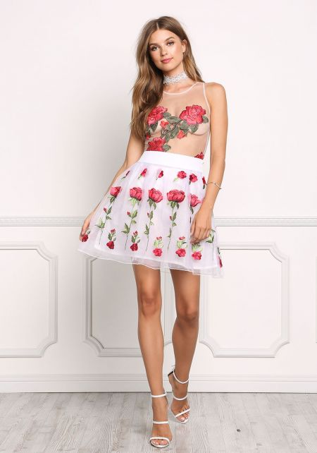 White Tulle Rose Embroidered Flared Skirt