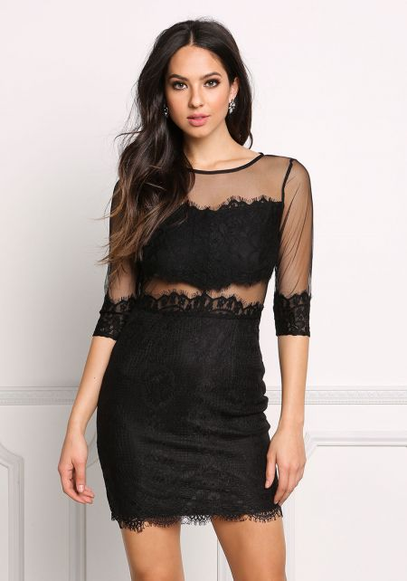 Black Lace Tulle Bodycon Dress