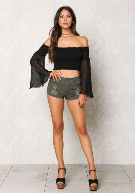 Olive Distressed Frayed Denim Shorts