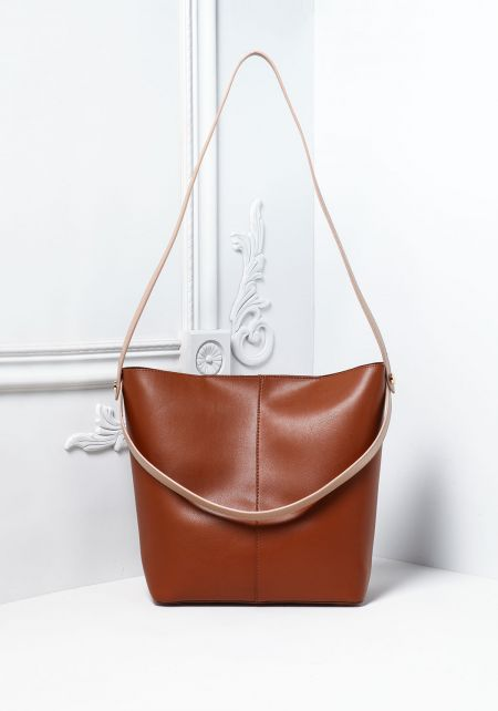 Brown Vegan Leatherette Square Tote Bag