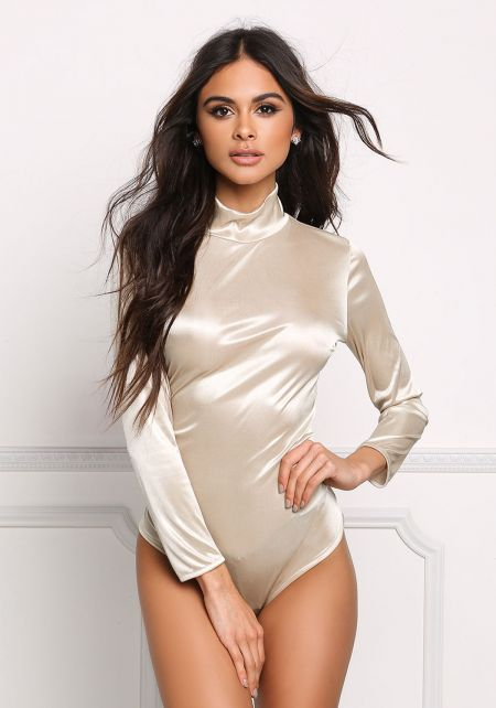 Taupe Satin Open Back Bodysuit