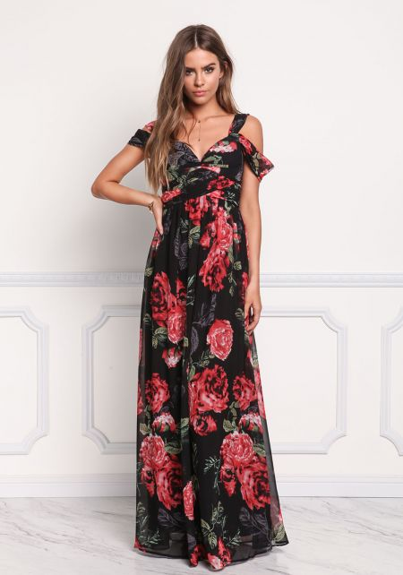 Multi Chiffon Rose Pleated Draped Maxi Dress