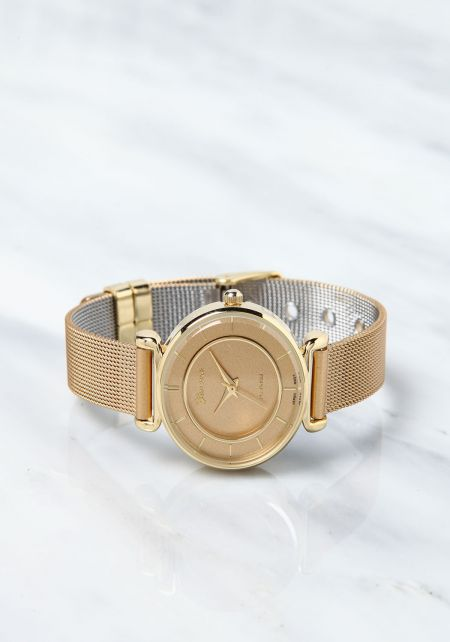 Gold Classic Mesh Link Band Watch