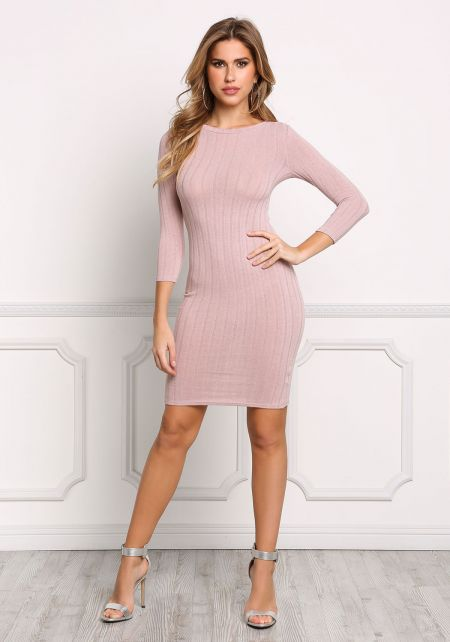 Blush Ribbed Knit Bodycon Dress