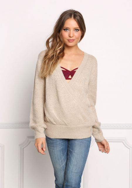 Taupe Low Surplice Thick Sweater Top