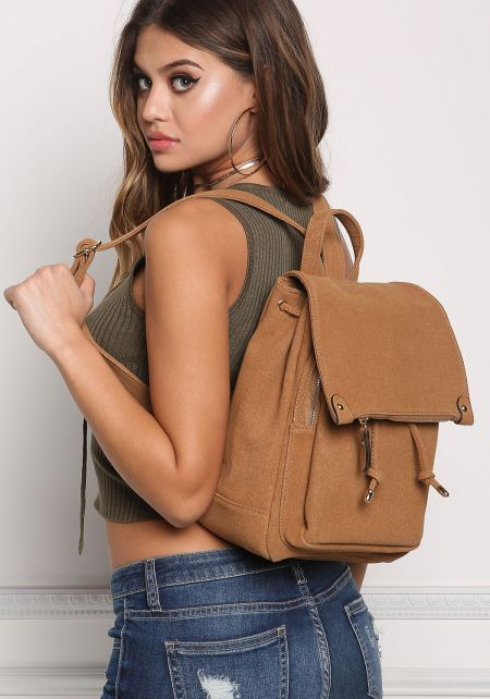 Brown Multi Pocket Drawstring Backpack