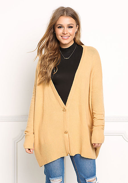 Camel Over Sized Knit Cardigan