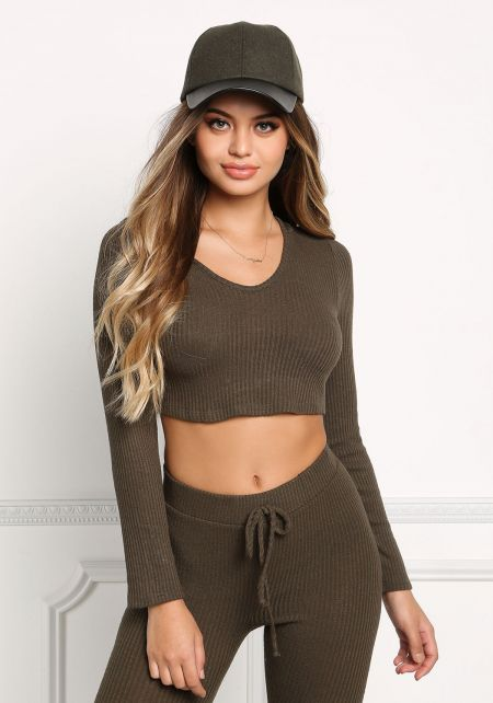 Olive Ribbed Knit Hooded Crop Top