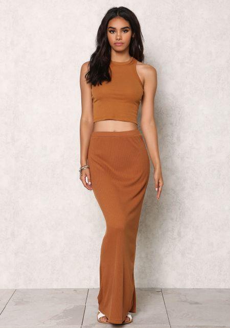 Camel Ribbed Knit Slit Maxi Skirt