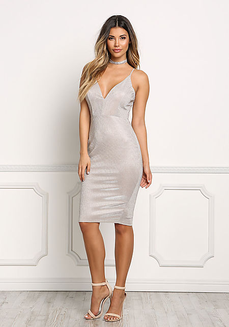 Champagne Shimmer Plunge Bodycon Dress