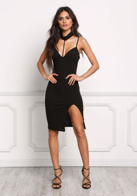 Black Choker Plunge Slit Bodycon Dress