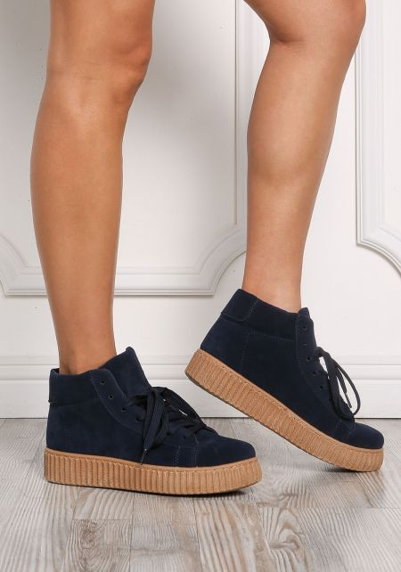 Navy High Top Suedette Sneakers