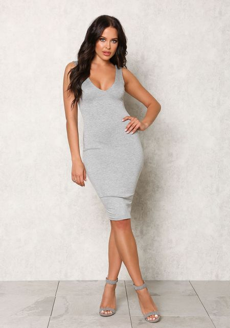 Grey Jersey Knit Bodycon Dress