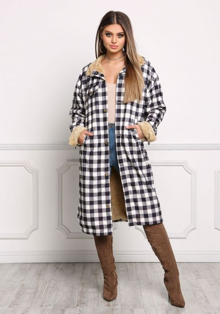 Black and White Gingham Faux Fur Longlined Jacket