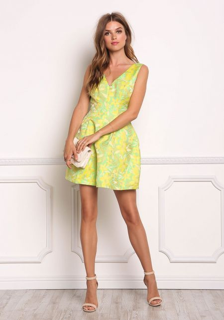 Yellow Metallic Floral Flared Dress