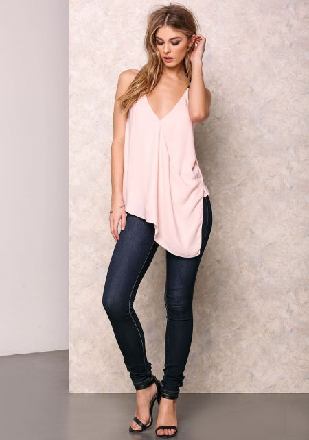 Blush Pink V Neck Slanted Cami Top