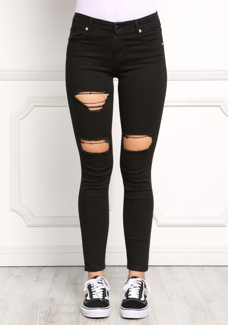 Black Distressed Cut Out Jeans