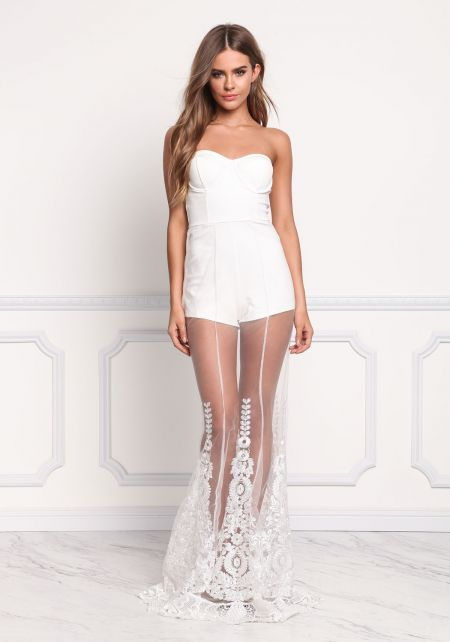 Off White Tulle Embroidered Strapless Mermaid Dres