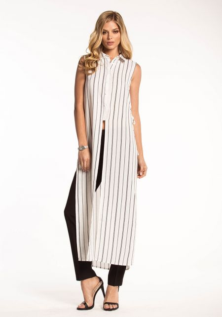 White Pinstripe Slit Lace Up Maxi Top
