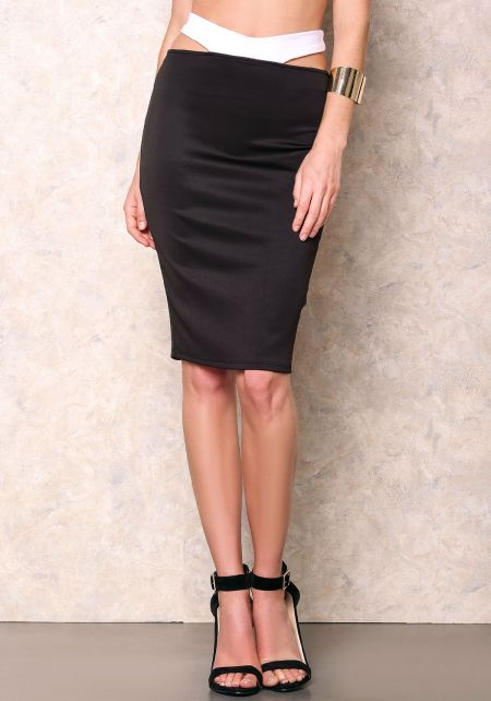 Black Contrast Raised Band Pencil Skirt