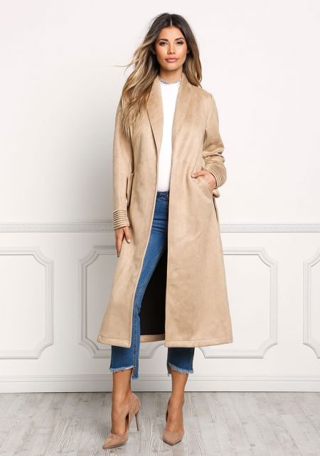 Taupe Cinched Longlined Suedette Coat