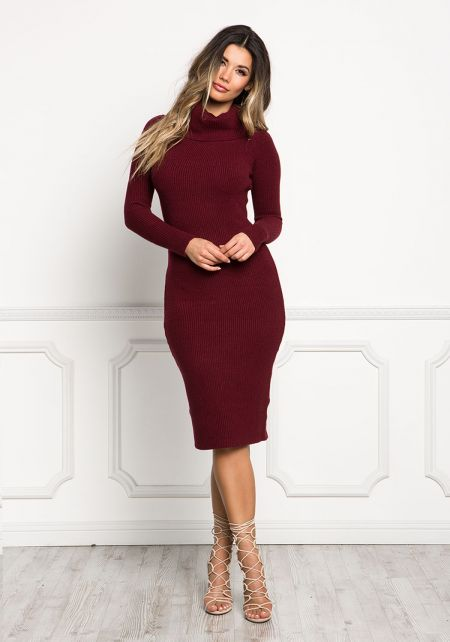 Burgundy Turtleneck Ribbed Knit Bodycon Dress