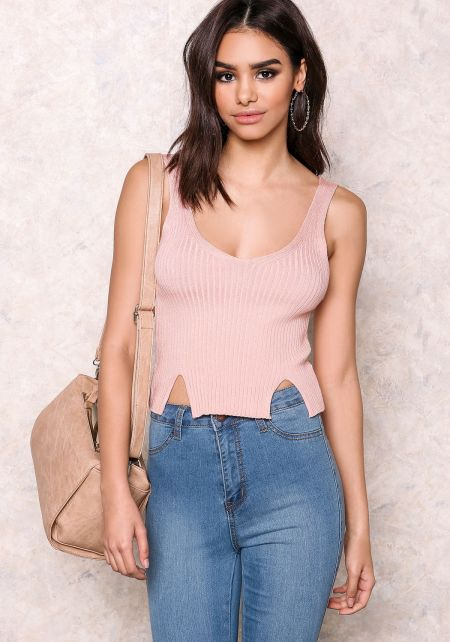 Pink Ribbed Crop Top with Slits
