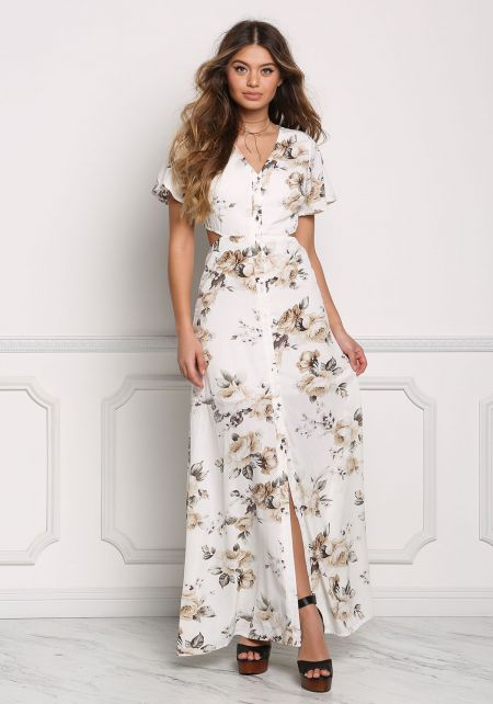 Multi Button Down Floral Cut Out Maxi Dress