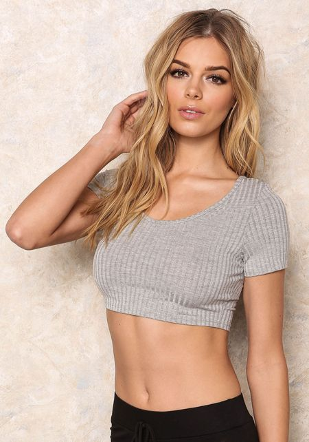 Grey Ribbed Knit Cropped Tee