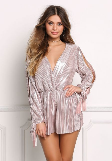 Rose Gold Metallic Pleated Sleeve Slit Romper