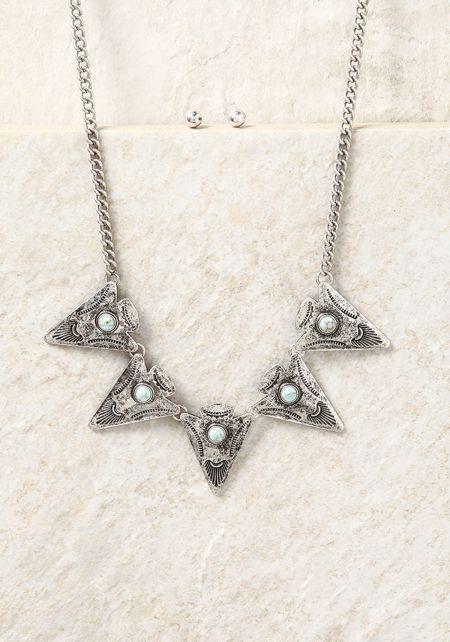Silver Triangle Pendant Chain Necklace