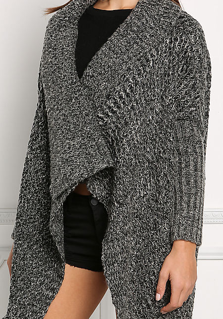 Black and White Chunky Knit Cardigan