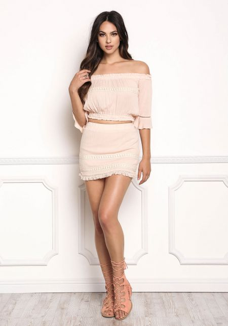 Pink Crepe Crochet Trim Mini Skirt