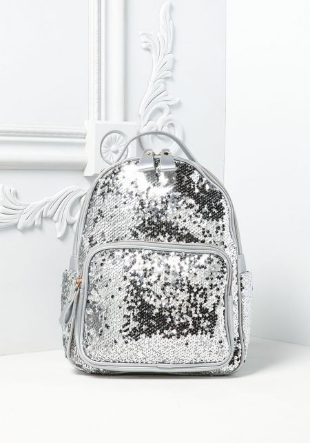 Silver Metallic Leatherette Sequin Backpack