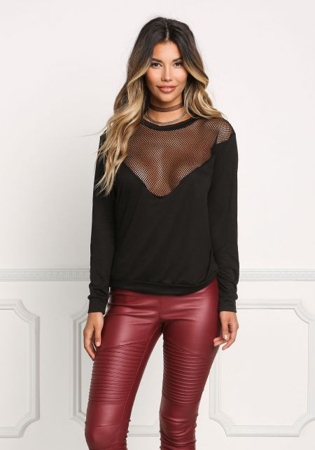 Black Mesh Trim Pullover Top