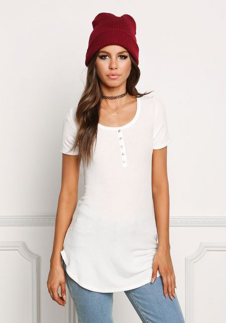 White Long Ribbed Knit Tee