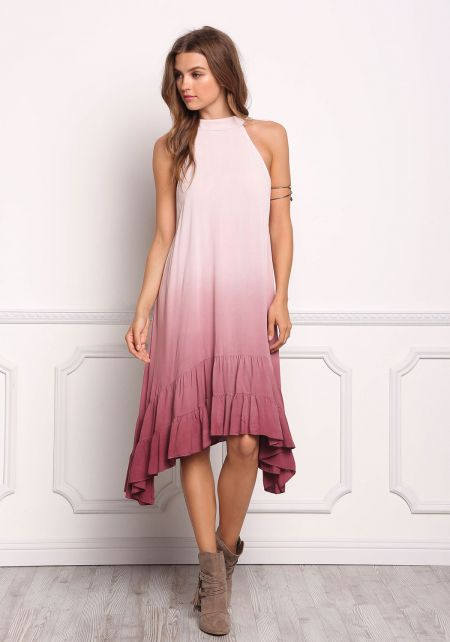Mauve Ombre Pointed Ruffle Tank Dress