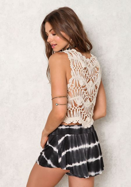 Taupe Crochet Distressed Back Crop Top