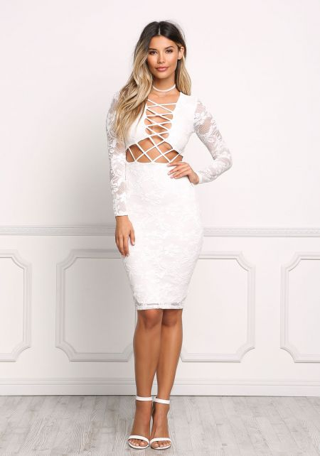 White Floral Lace X Strap Bodycon Dress