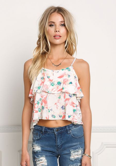Ivory Tiered Floral Cami Crop Top