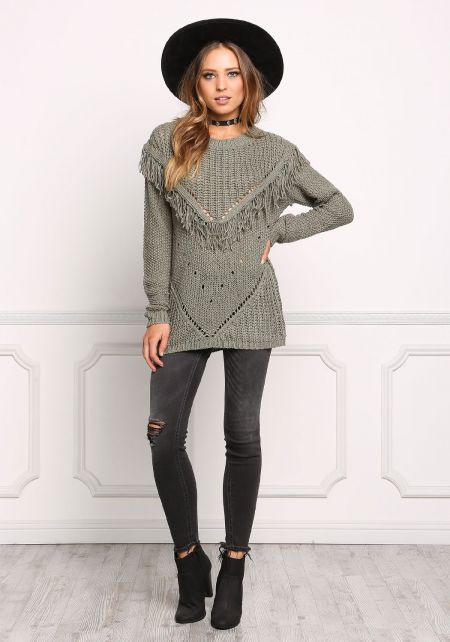 Olive Knit Fringe Sweater Top