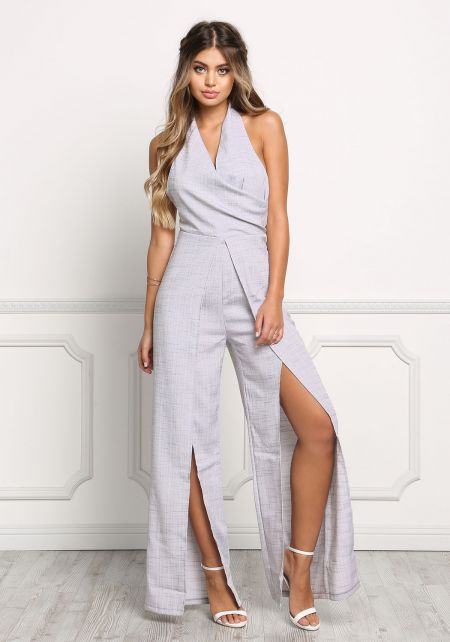 Grey Layered High Slit Halter Jumpsuit