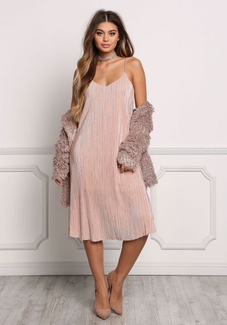 Blush Pleated Shift Slip Dress