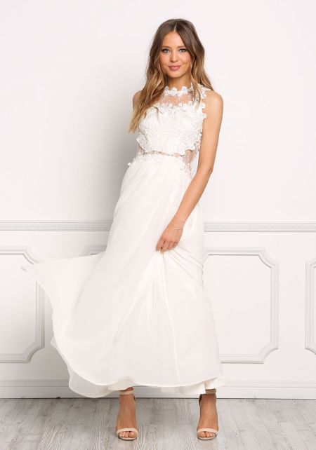 Cream Lace Floral Applique Maxi Gown