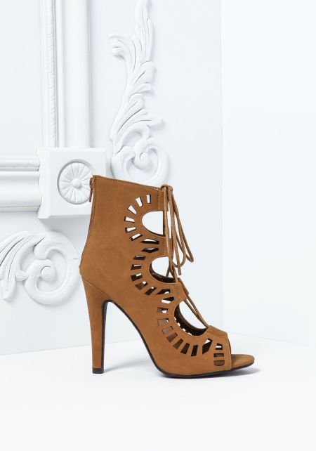 Tan Strappy Cut Out Suedette Heels