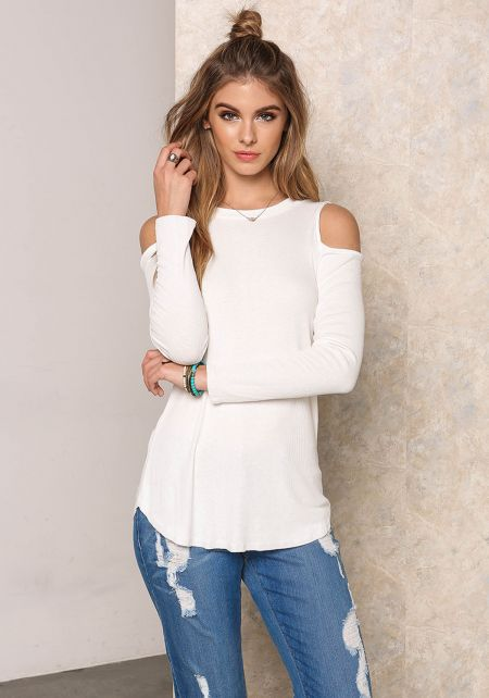 White Ribbed Knit Cold Shoulder Top