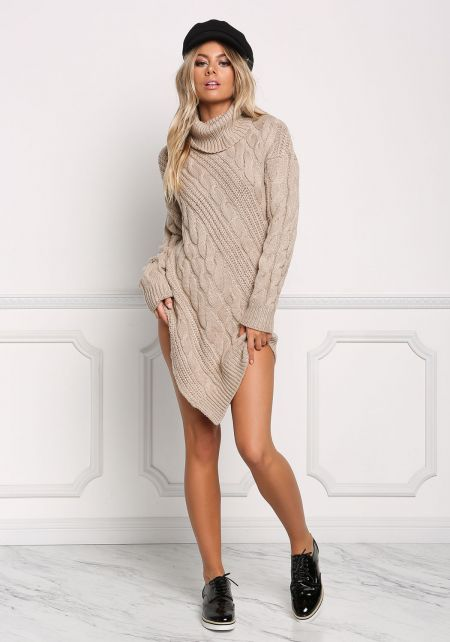 Taupe Cable Knit Poined Turtleneck Dress