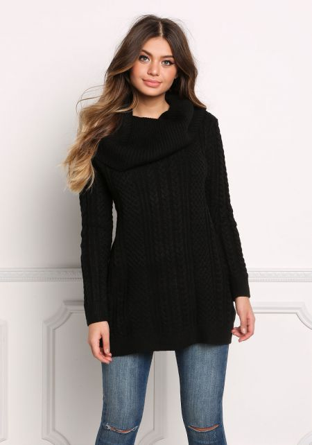 Black Cowl Neck Thick Cable Knit Sweater Top
